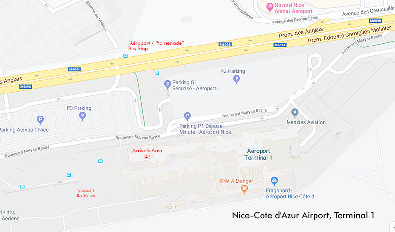 Map of Nice airport, showing the location of the bus stop.